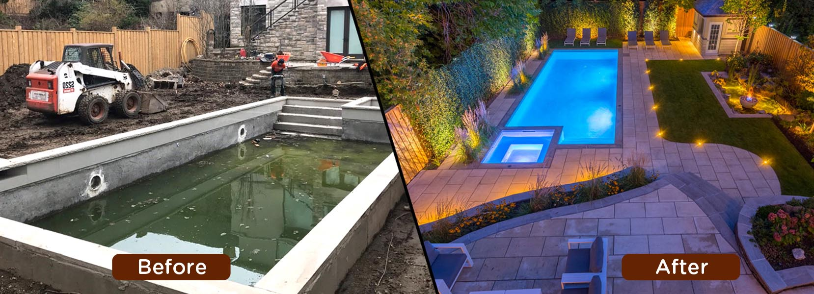 Swimming Pool Before and after Construction